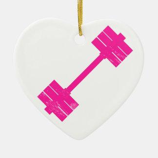 Peso de las rosas fuertes adorno navideño de cerámica en forma de corazón