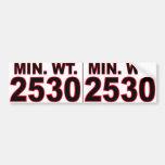 Peso mínimo 2530 número 2 etiqueta de parachoque