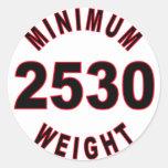 Peso mínimo 2530 redondo pegatina redonda