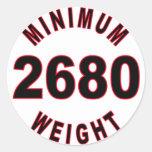 Peso mínimo 2680 redondo pegatina