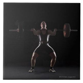 Peso que mueve de un tirón del Weightlifter Azulejo Cuadrado Grande