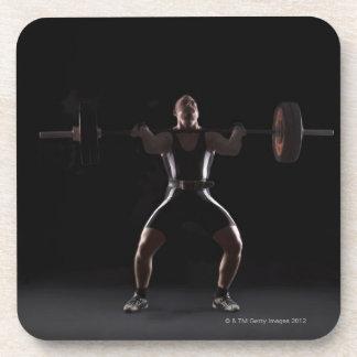 Peso que mueve de un tirón del Weightlifter Posavasos De Bebidas