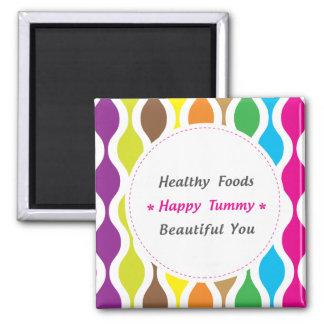 Peso y salud conscientes imán cuadrado