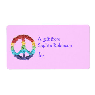 Pesonalized gift tag label with peace sign