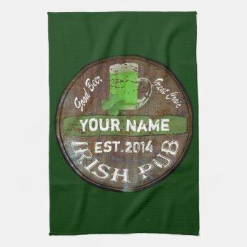 Pesonalized Irish Pub Sign Hand Towel by Paddy_O_Doors at Zazzle