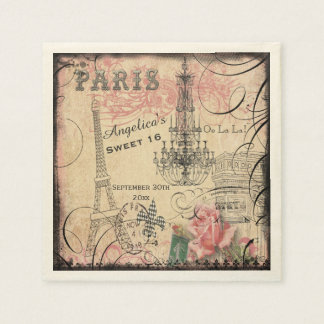 Pesonalized Sweet 16 Eiffel Tower and Chandelier Disposable Napkins