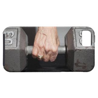 Pesos de elevación de la mujer mayor funda para iPhone 5 tough