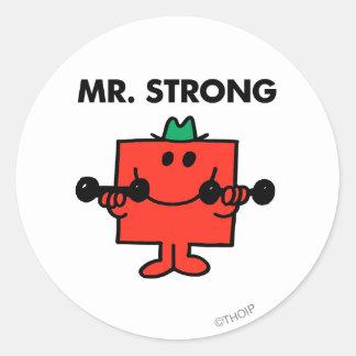 Pesos de elevación de Sr. Strong el   Pegatina Redonda