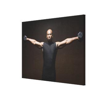 Pesos de elevación del hombre, retrato impresion en lona
