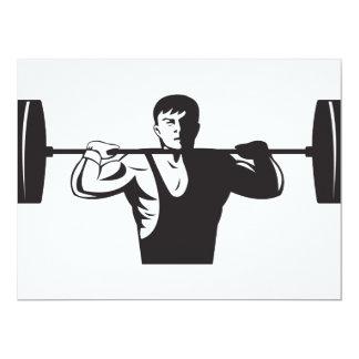 """Pesos de elevación del Weightlifter retros Invitación 6.5"""" X 8.75"""""""
