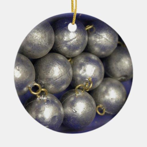 pesos de la pesca adorno navideño redondo de cerámica