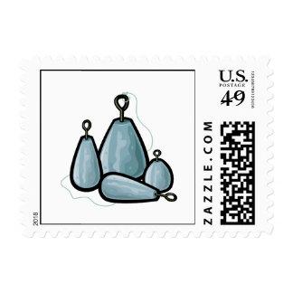 Pesos de la pesca timbres postales