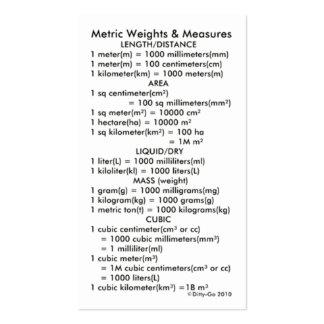 Pesos y medidas métricos tarjetas de visita