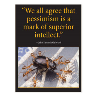 Pessimism is a mark of intellect postcard