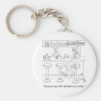 Pessimist Cartoon 9333 Keychain