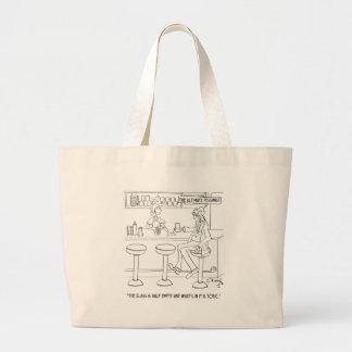 Pessimist Cartoon 9333 Large Tote Bag