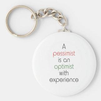pessimist optimist keychain