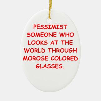 pessimist Double-Sided oval ceramic christmas ornament
