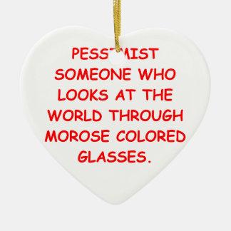 pessimist Double-Sided heart ceramic christmas ornament