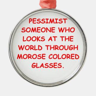 pessimist round metal christmas ornament