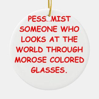 pessimist Double-Sided ceramic round christmas ornament