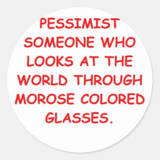 pessimist classic round sticker