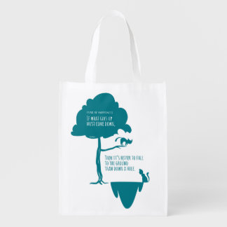 Pessimist's Optimism: Fear of Happiness Cats Reusable Grocery Bag