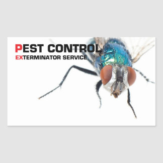 Pest control rectangular sticker