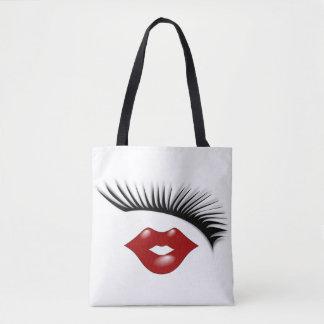 Pestañas elegantes femeninas artsy y diseñador de bolsa de tela
