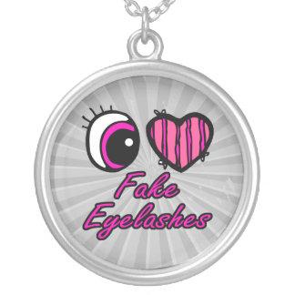Pestañas falsas del amor del corazón I del ojo de  Colgante Redondo