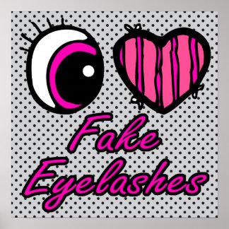 Pestañas falsas del amor del corazón I del ojo de Poster