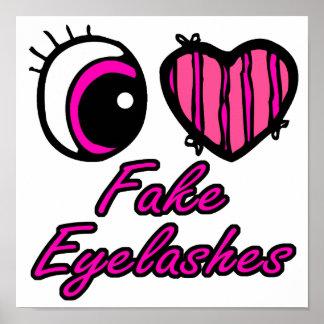 Pestañas falsas del amor del corazón I del ojo de  Póster
