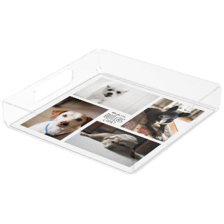 Pet 4 Photo Collage Tray with Custom Text