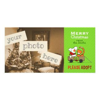 Pet Adoption Christmas Green Stripe Patch n Rusty Photo Card