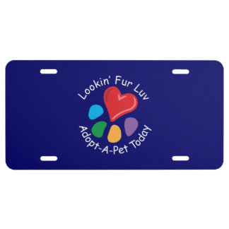 Pet Adoption_Heart-Paw_Lookin' Fur Luv_on blue License Plate