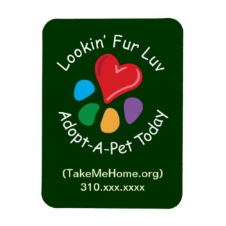 Pet Adoption_Heart-Paw_Lookin' Fur Luv_personalize Rectangular Photo Magnet