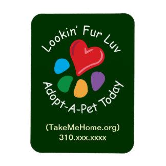Pet Adoption_Heart-Paw_Lookin' Fur Luv_personalize Rectangular Photo Magnet