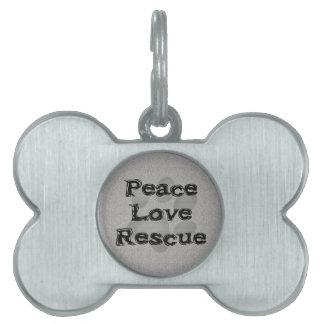 Pet Adoption Peace Love Rescue Pet Name Tags
