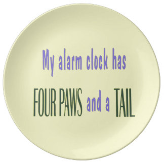 Pet Alarm Clock - Yellow Background Dinner Plate