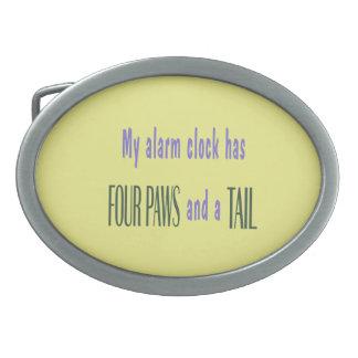 Pet Alarm Clock - Yellow Background Oval Belt Buckle