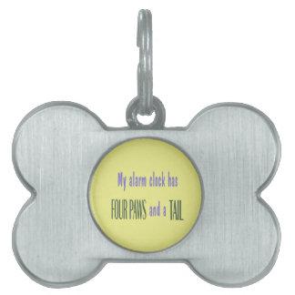 Pet Alarm Clock - Yellow Background Pet Name Tag