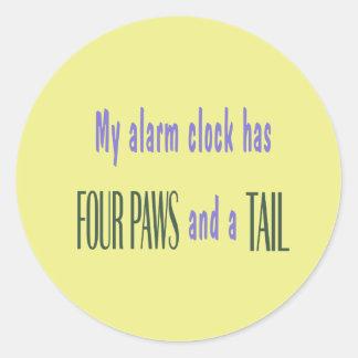 Pet Alarm Clock - Yellow Background Round Stickers