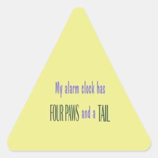 Pet Alarm Clock - Yellow Background Triangle Sticker