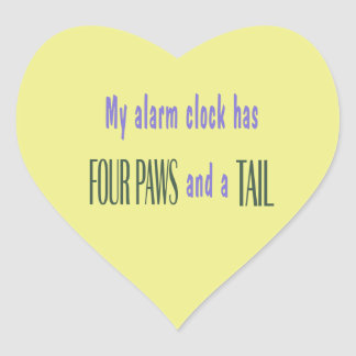 Pet Alarm Clock - Yellow Background Heart Sticker