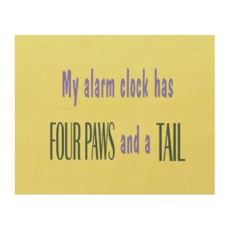 Pet Alarm Clock - Yellow Background Wood Print