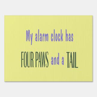 Pet Alarm Clock - Yellow Background Yard Sign