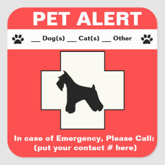 Pet Alert Emergency Square Sticker