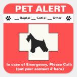 Pet Alert Emergency Square Stickers