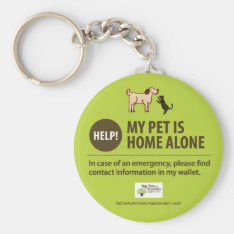 Pet Alert Keychain | Help! My Pet Is Home Alone! at Zazzle