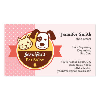 Pet Beauty Salon - Pink Polka Dots Double-Sided Standard Business Cards (Pack Of 100)